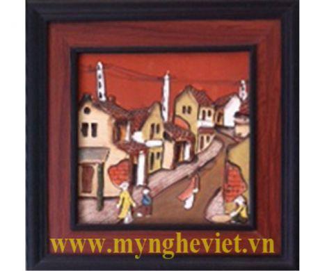 Tranh gốm đỏ đồng quê MNV-TG005 (35 x 35)