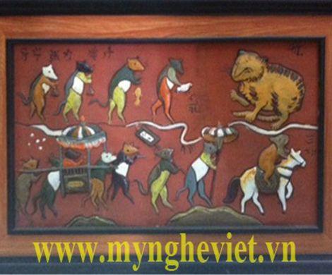 Tranh gốm đám cưới chuột MNV-TG008